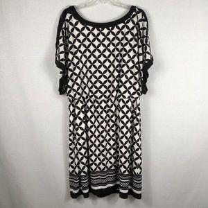 Dressbarn Black White Geometric Career Dress Sz 16